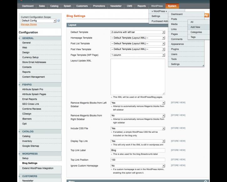 pannello di admin modulo integrazione wordpress